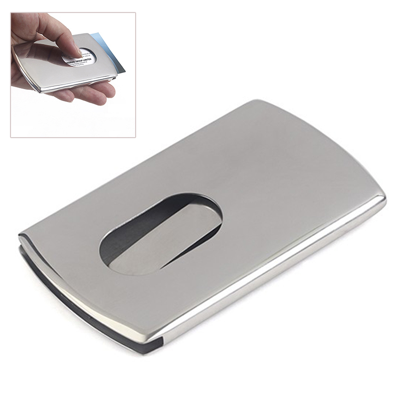 new 1 piece business card holder stainless steel women men thumb slide out pocket id banks - Business Card Holder For Men