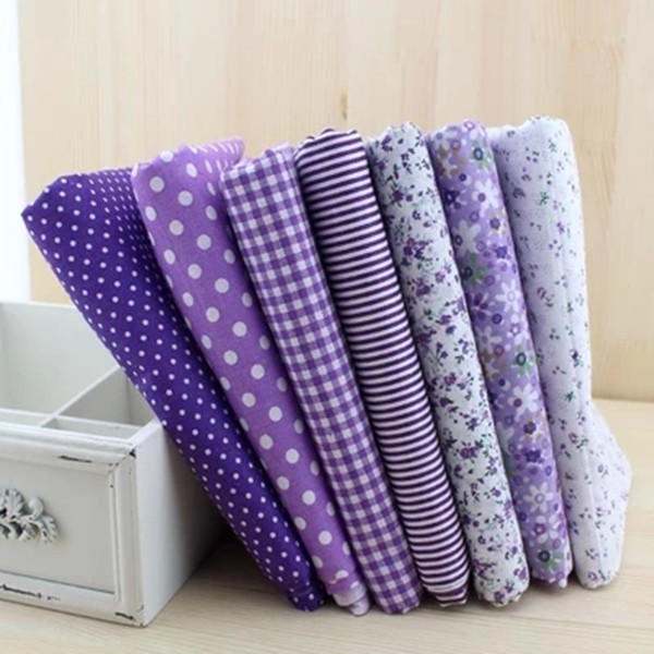 7pcs Purple 100% Cotton Quilting Fabric for DIY Sewing Patchwork Kids Bedding Bags Tilda Doll Baby Cloth Textiles Fabric 50*50cm(China (Mainland))