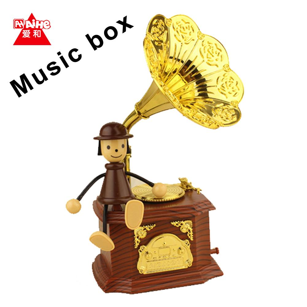 1Piece Retro Gramophone Art Disc Music Box Vintage doll phonograph music box home decoration for girl Free Shipping(China (Mainland))