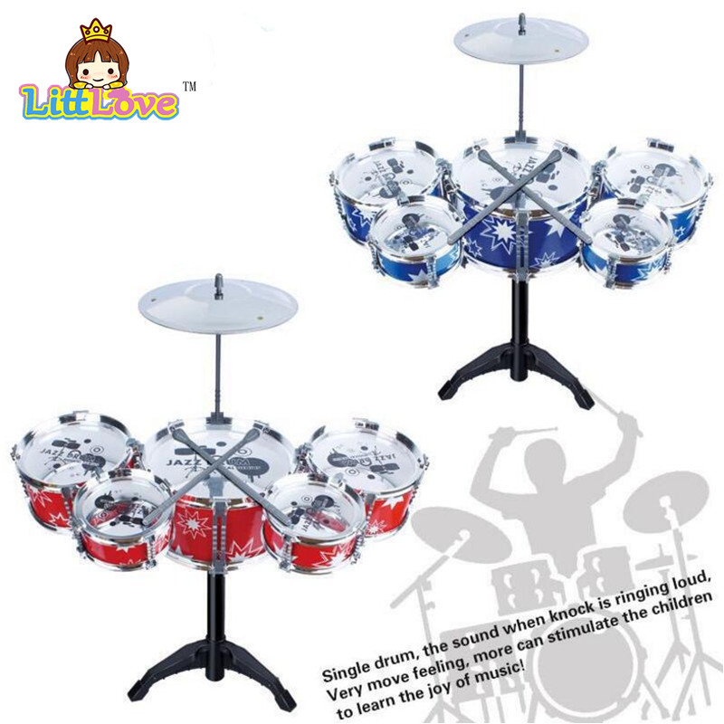 LittLove Children's Kid's Jazz Drum Set Musical Instrument Toy Playset with 5 Drums Cymbal Stand Drumsticks Toys For Children(China (Mainland))