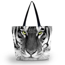 Buy Tiger Face Soft Foldable Zipper Shopping Bag Ladies Womens Shoulder Shopping Tote School Bag Handbag Beach Bag Free for $8.47 in AliExpress store