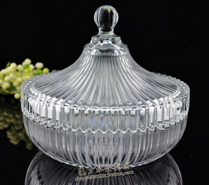 Crystal glass fruit plate dried fruit compote dish cover dribbling Canister sugar bowl free shipping limit spike(China (Mainland))