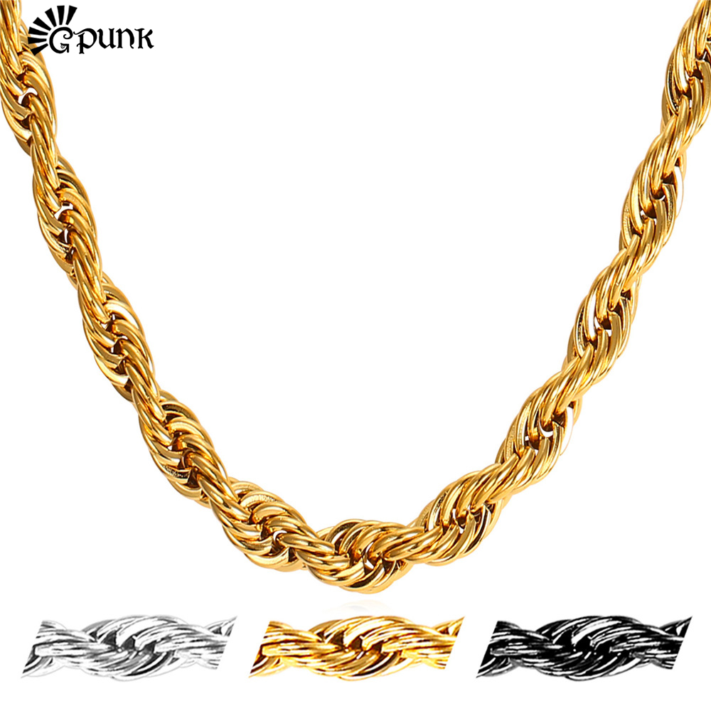 Men Twisted Singapore Chain Gold Rope Necklace 6mm 5 sizes Stainless Steel 18K Real Gold/Black Gun Plated Wholesale N2176G(China (Mainland))