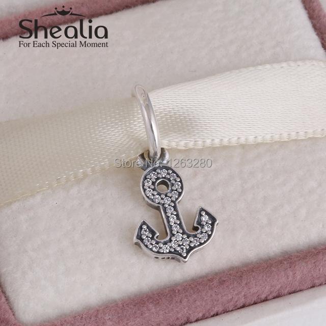 Shealia стерлингового серебра 925 вымощают cz якорь мотаться подвески кулон с ясно ziron символ стабильность подходят женщины браслеты diy