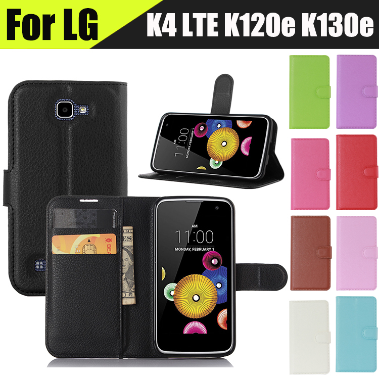 High Quality Mobile Case For LG K4 Case Stand Card Luxury PU Leather Flip Cover Case For LG K4 LTE K120e K130e Phone Cases(China (Mainland))