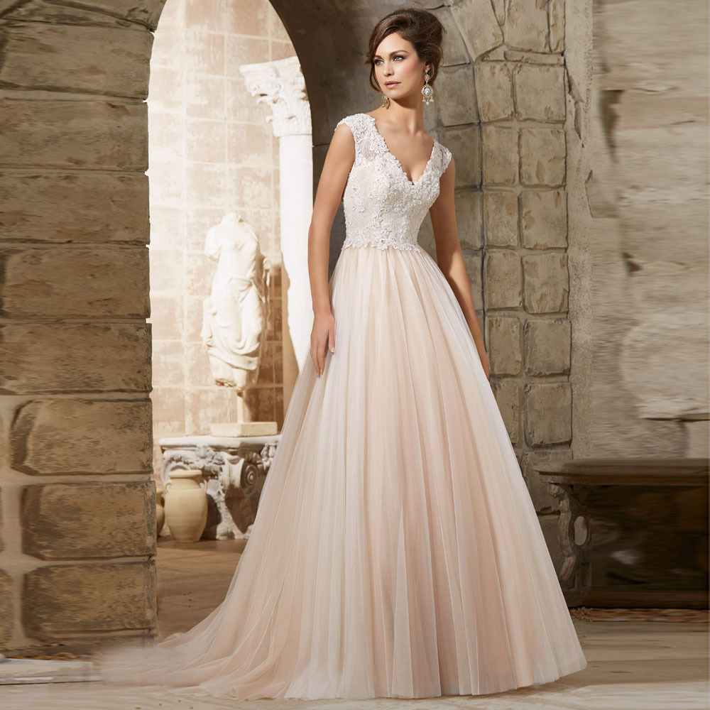 Buy beautiful appliqued good looking for Empire a line wedding dress