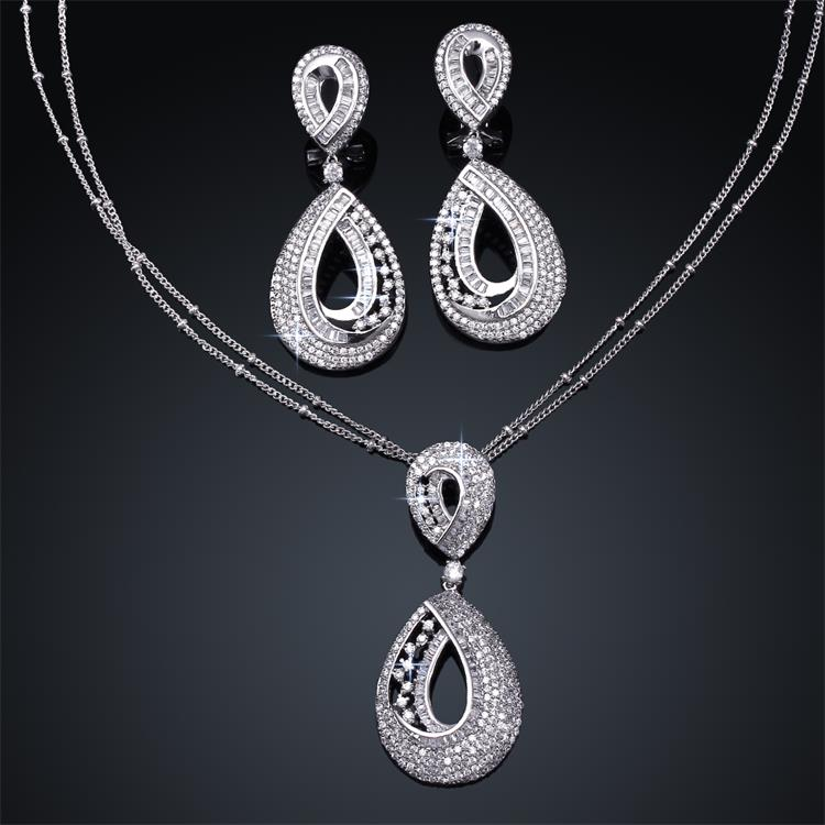 Luxury Wedding Jewelry Sets For Women 18k Gold Plated Water Drop Necklace Pendants & Earring Sets Cubic Zirconia Fine Jewelry(China (Mainland))