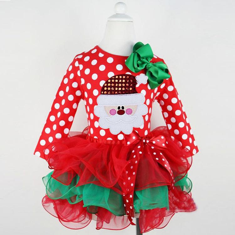 2015 new long-sleeved Christmas dress baby Christmas cake dress. LM1146(China (Mainland))