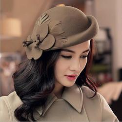 2015 Fashion New Vintage Women Ladies Hat Stewardess Cap Wool Felt Fedora Felt Hat Cap 6 Color  Chapeu Feminino Free Shipping
