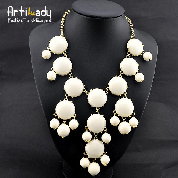 Artilady blue round stone necklaces statement party necklaces