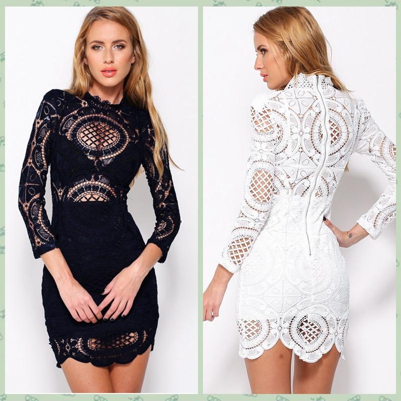 2016 Summer Fashion Vestidos De Renda Novelty Designers See Through Women Sexy Navy Long Sleeve Hollow Lace Mini Bodycon Dress(China (Mainland))