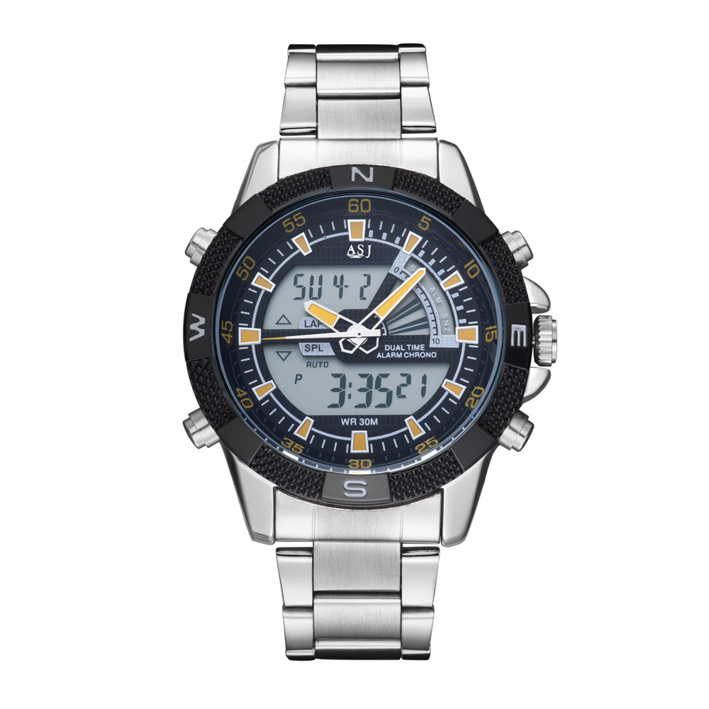 AJS 2015 New Analog Digital Watches Men Luxury Brand Japanese Movement Stainless Steel Multifunction Dual Time Zoom Sport Watch<br><br>Aliexpress