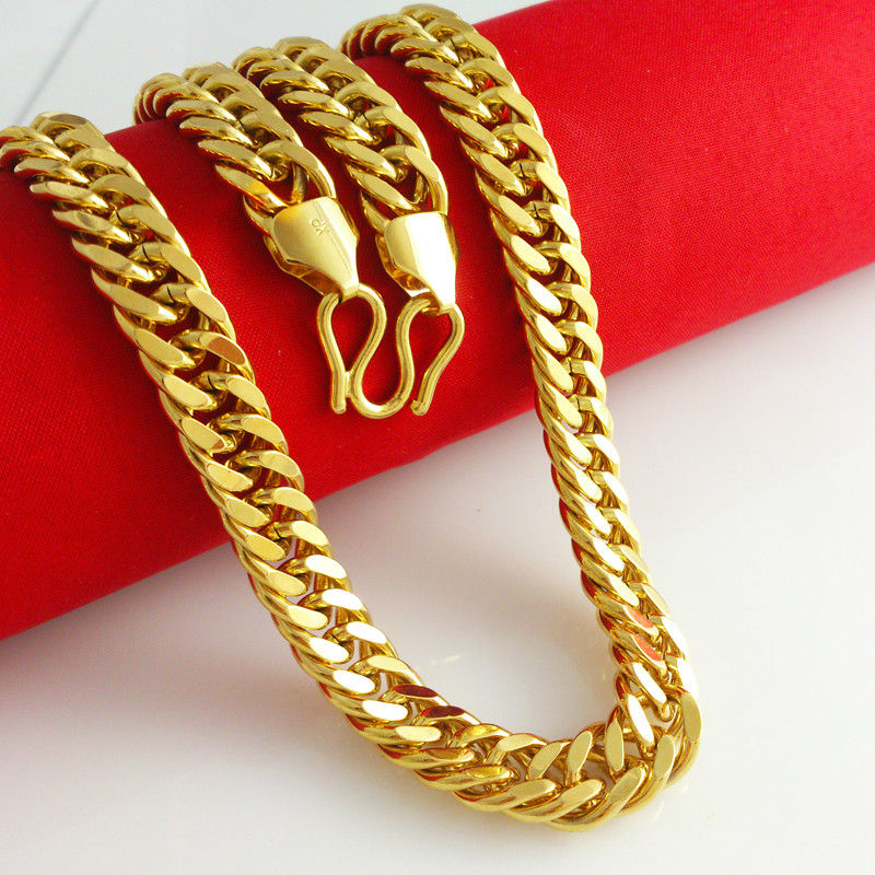 10mm big chain Vacuum Plating 24K Gold Necklace Men's jewelry curb chain necklace Gift Hiphop jewelry Fashion in style YB046(China (Mainland))