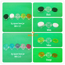 FreeShipping 100pcs 3g cream jar, cosmetic container, plastic bottle,display bottle,sample jar,cosmetic packaging(10 color lids)