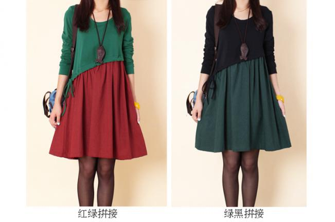 New 2015 Spring Casual Dress Plus Size Loose Patchwork Color Block Fluid Long-Sleeve Winter Dress College Women Dress Y820(China (Mainland))