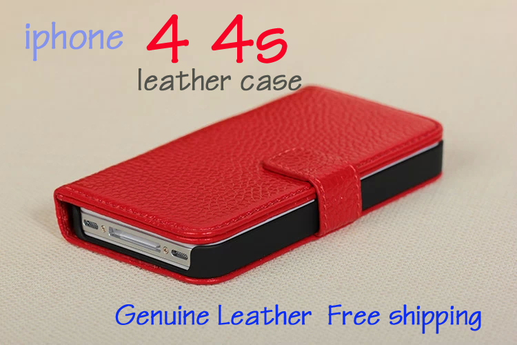 Free Shipping for iphone 4 4S cell phone cases simple and elegant so open textured 4s leather case phone shell protective sleeve(China (Mainland))