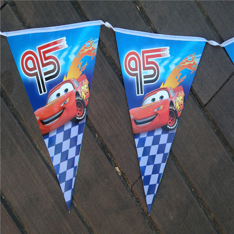 Hot Sales 10pcs/line Baby Birthday Party Flags Blue Paper Banners Bunting Decoration Kids Birthday Party Supplies Cars Boys(China (Mainland))