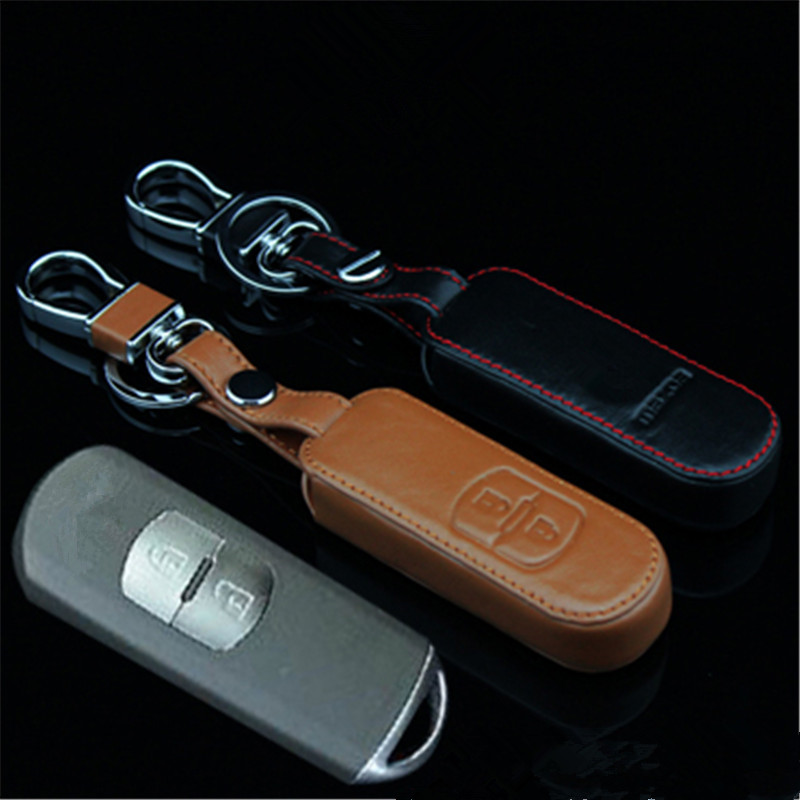Car Genuine Leather Remote Control Car Keychain Key Cover Case For Mazda CX-5 2Buttons Smart Key L230(China (Mainland))