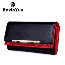 KEVIN YUN Luxury Women Wallets Patent Leather High Quality Designer Brand Wallet Lady Fashion Clutch Casual Women Purses Party(China (Mainland))