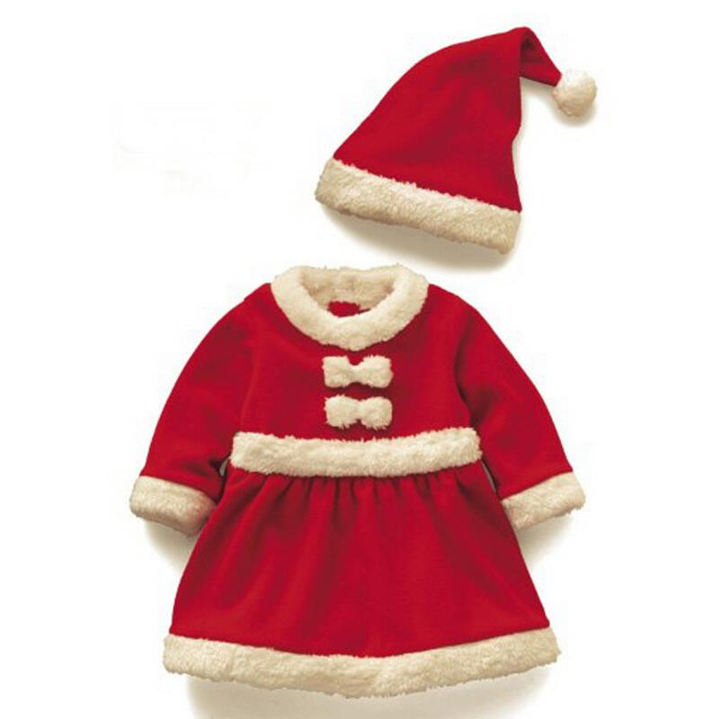 Baby girls christmas dress toddler long sleeve red dress hat baby