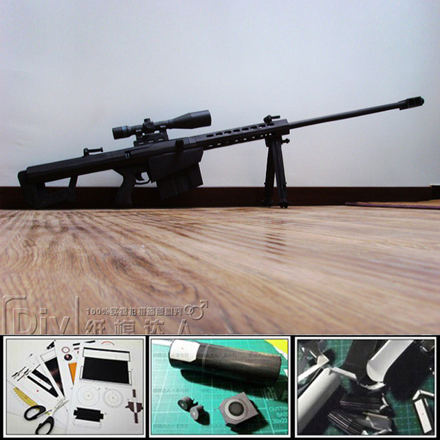 3D Paper gun model DIY Puzzles 1:1 Scale Barrett M82A1 Special Application Scoped Rifle waterproof no fade magazine papercraft