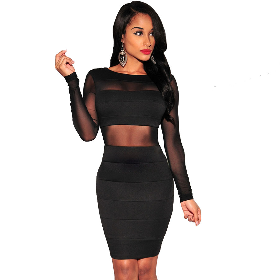 XS-XXL Sexy Bandage Dress New Winter Black White Dress Long Sleeve Mesh Patchwork Hollow Out Pencil Bodycon Dress Female Dresses(China (Mainland))
