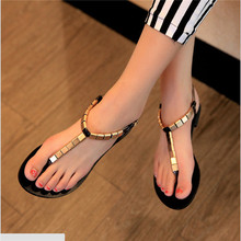 Hot selling 2016 Summer Style  Women Shoes Concise Flip-Flop Women Beach Sandals Flat With Sequined Women Sandals #2469