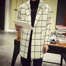 2017 Brand High Quality Winter Overcoat Men Long Plaid Wool Coats Male Warm Woolen Jackets Turn-down Collar Slim Fit Trench Man(China (Mainland))