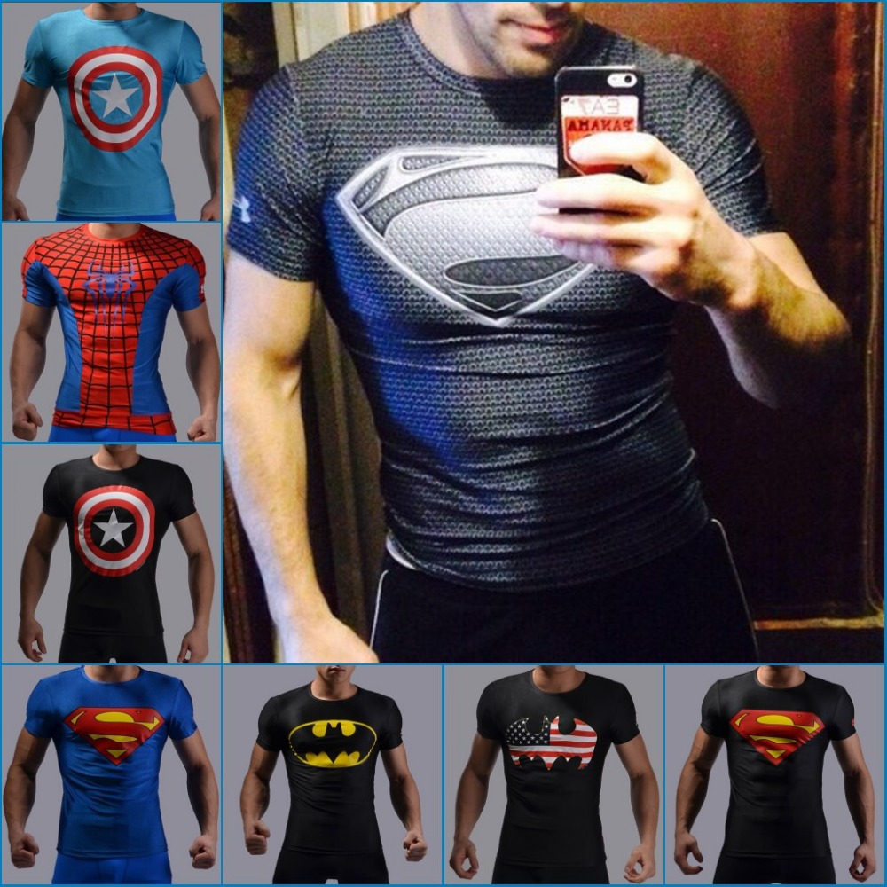 Hot sales 2015 New Mens compressed T-shirt superman hulk ight T-shirt male fitness quick dry T-shirt Surfing Tops Free shipping(China (Mainland))