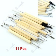 1set 11pcs Wood Handle Wax Pottery Clay Sculpture Carving Modeling Tool DIY CraftFree Shipping wholesale/retail