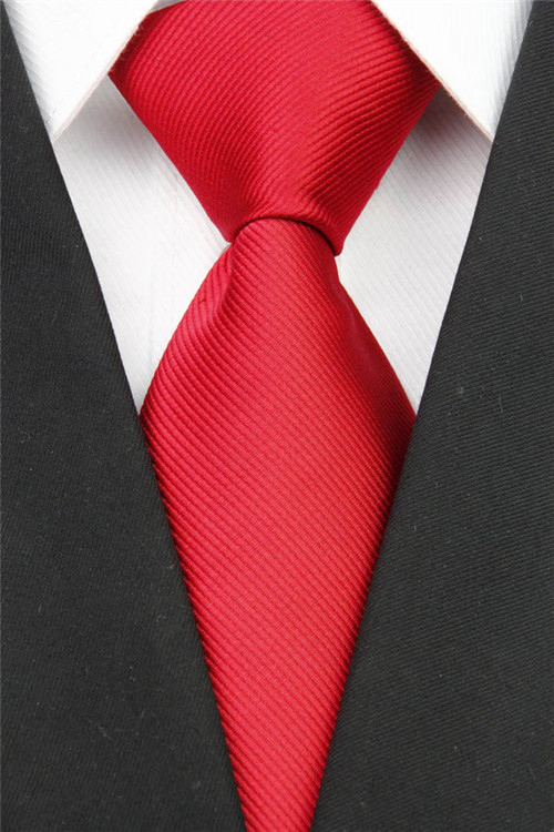 NT0002 Man's Red Solid Classic Smooth Silk Polyester Jacquard Woven Fashion Tie Business Wedding Party Luxury Casual Necktie - askformore store