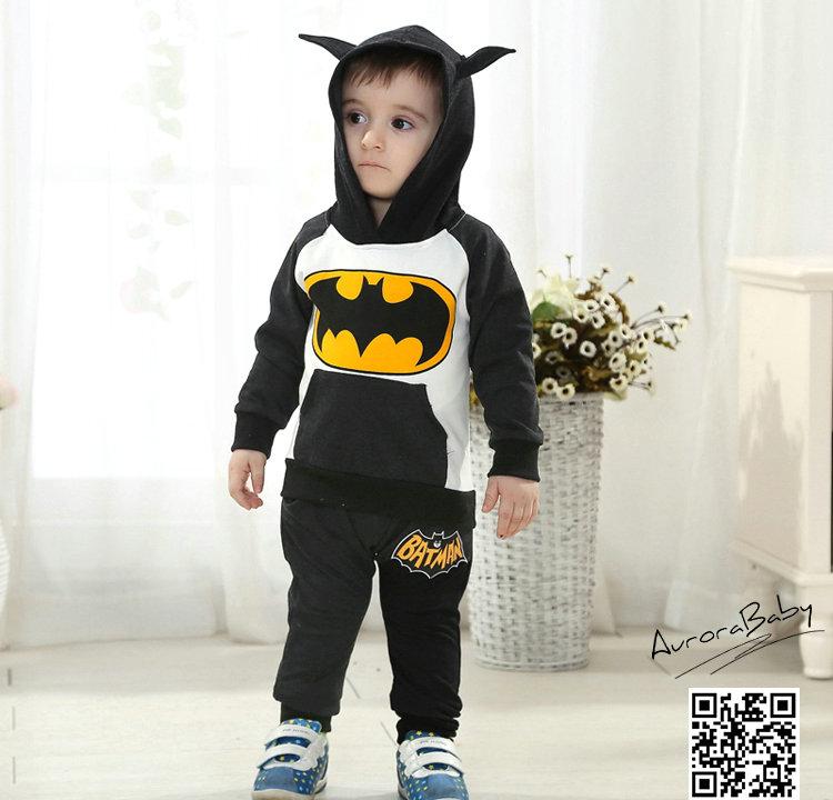 Kids Batman Clothing Set Include Coat And Pants Warm