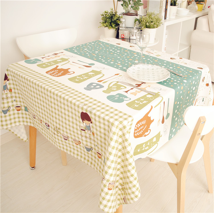 New Arrival Cute Cartoon Printed Little Chef Tablecloth 100% Cotton Canvas Dinner Table Cover 70*70cm 90*90cm Accept Customize(China (Mainland))