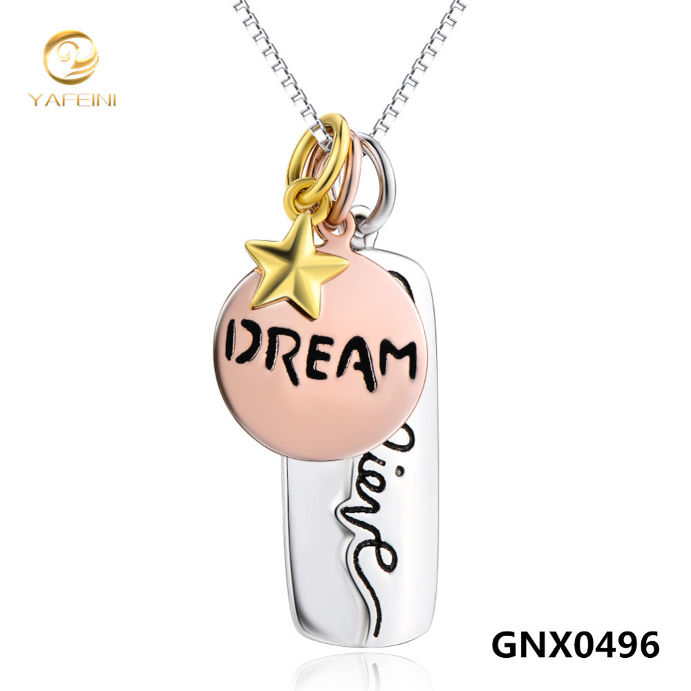 Genuine 925 Sterling Silver Three Tone Necklace New S925 Jewelry Believe Dream Gold Star Pendant Necklace For Women GNX0486