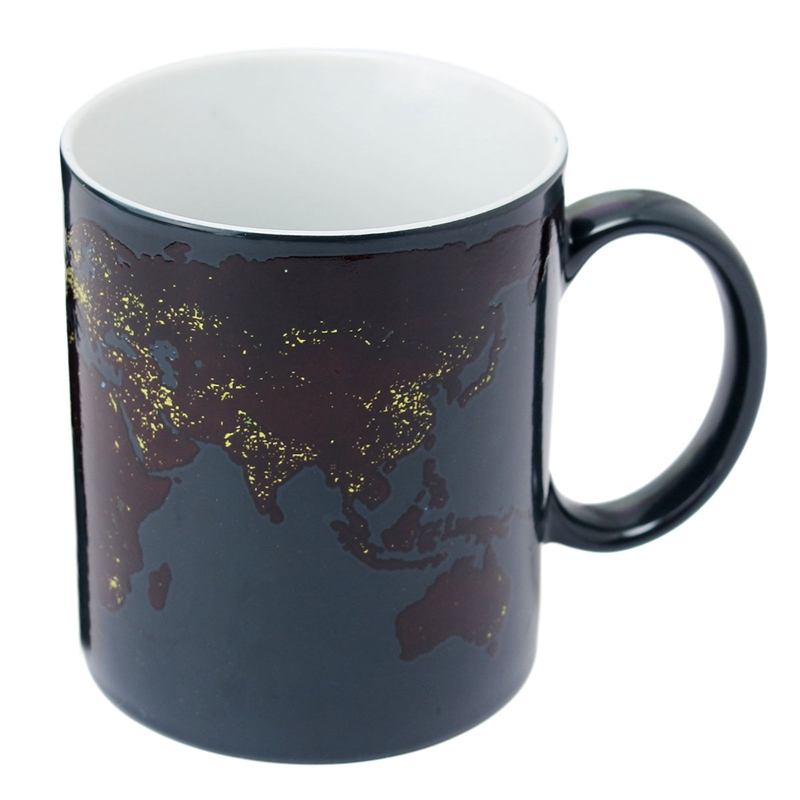 Best Price 201-300ML Heat Changing Mug Color Cup Coffee Sensitive Magic Map Tea Hot Reactive Cold Ceramic Home Office Drinkware(China (Mainland))