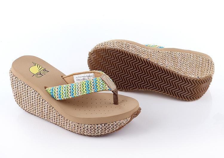 Straw Wedges Sandals Waterproof High-Heeled Flip-Flops Summer Sandals Beach Female Muffin Slippers Casual