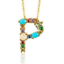 Multicolore mode breloque or 26 Alphabet pendentif collier micro pavé zircon lettre initiale colliers Couple nom collier(China)