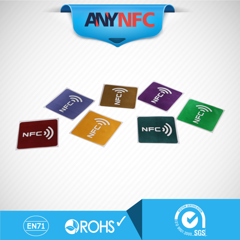 best quality newest NFC TAG 7pcs/Lot(7 Color) chip NTAG203 NFC tag lable universal NFC stickers for all NFC mobile phone(China (Mainland))