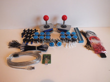 Аркады части с подсветкой кнопки из светодиодов лампы держатели орехи джойстик плеер кнопки микровыключателем USB адаптер заземления