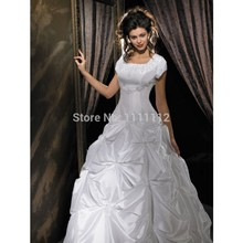 Nitree Short Sleeve A-line Princess Ball Gown/ Sweep Train Ruching Crystal Empire Wedding Dresses Bridal Dress(China (Mainland))