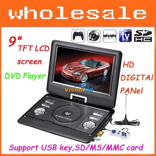 "9""HD DIGITAl PANel Portable DVD Player with TV USB Card Reader Games FM Radio Swivel LCD & VGA free shipping(China (Mainland))"