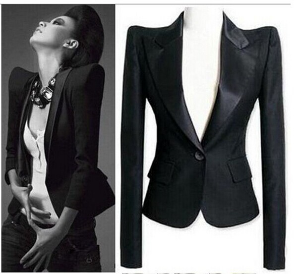 2014Celeb Peaked Shoulder Tuxedo Lady Blazer Suit Jacket(China (Mainland))