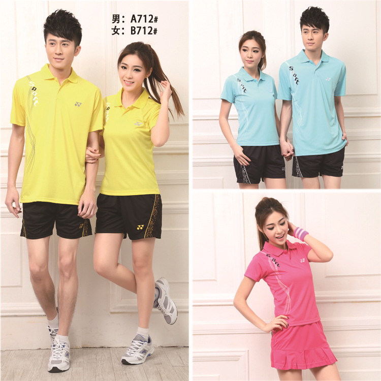 New 2014 Badminton Tennis Clothes For Couples Table Tennis Shirt and Shorts skirt Men & Women Sportswear(China (Mainland))