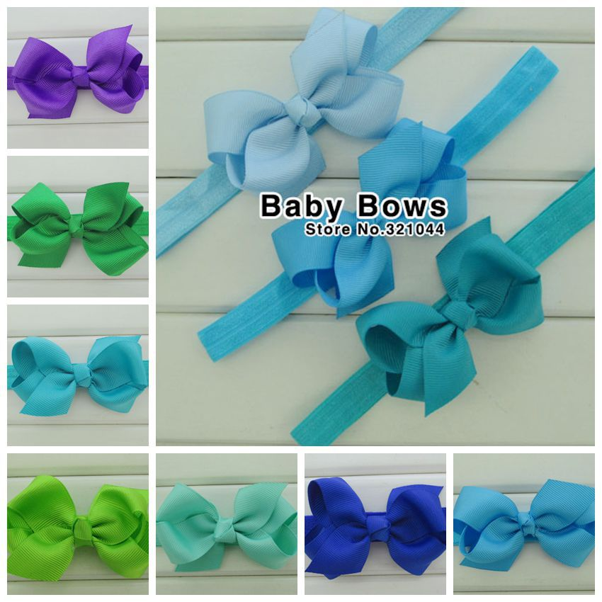 20pcs/lot 3.3'' Grosgrain Ribbon Hair Bows With Elastic Infant Hairbands For Kids Girls Headbands Hair Accessories Free Shipping(China (Mainland))