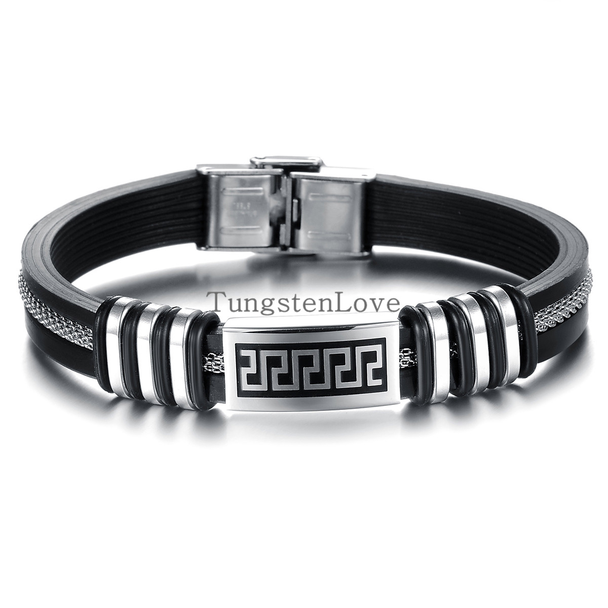 21cm*9mm Wholesale Fashion jewelry men great wall Rubber stainless steel bracelets vintage bangle male accessories(China (Mainland))