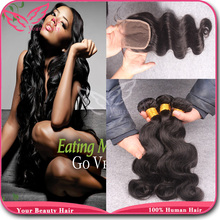 7A Cheap Brazilian Body Wave With Closure,Unprocessed Human Hair Extensions With Closure,Brazilian Virgin Hair With Lace Closure