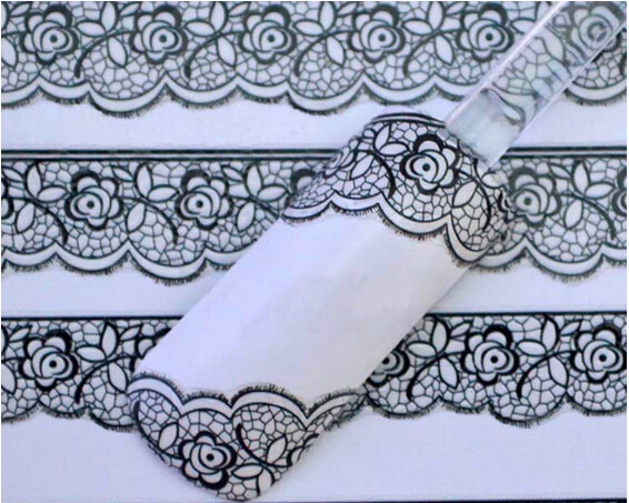 HABI 1Piece 3D Black Lace Flower Design Nail Art Stickers Nail Decals For Nail Tips Decoration