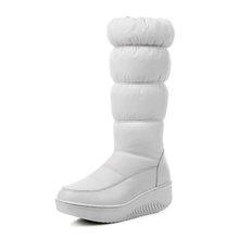 WETKISS Plus Größe 35-44 Dickes Fell Warm Halten Schnee Stiefel Frauen Mitte Wade Zipper Plüsch Unten Winter Stiefel plattform Keile Schuhe Frau(China)