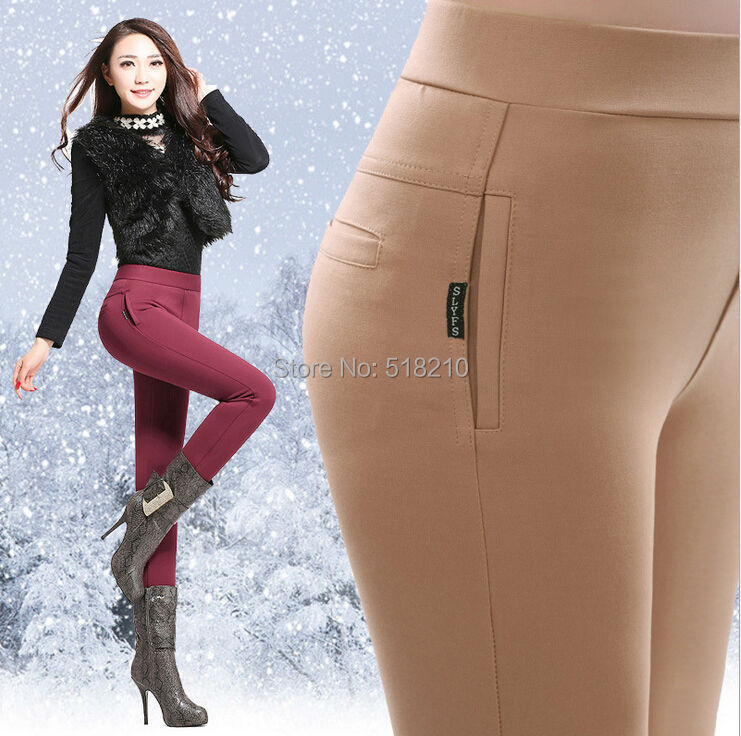 New 2015 Autumn Winter Fashion Slim High Elastic Women Warm Thicking Casual Skinny Leggings Pencil Pants Long Trousers Capris(China (Mainland))