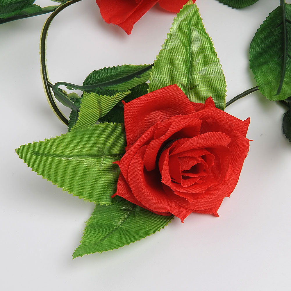 New Beautiful Romantic Red Silk Rose Vine Green Leaves Hanging Decor Artificial Flower Wall Wedding Decor(China (Mainland))